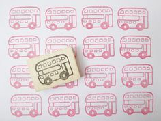 London bus stamp Double Decker Cute bus by JapaneseRubberStamps