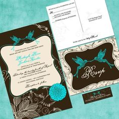 Chocolate Brown and Blue Wedding Invitation Tiffany by SweetSights ...