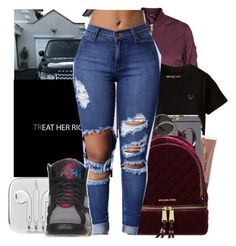 """""""E A T """" by melaninaire ❤ liked on Polyvore featuring Topshop, Bobbi Brown Cosmetics, Michael Kors and Retrò"""