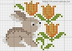 rabbit with tulips Small Cross Stitch, Cross Stitch Heart, Cross Stitch Animals, Cross Stitch Designs, Cross Stitch Patterns, Cross Stitching, Cross Stitch Embroidery, Embroidery Patterns, Broderie Simple