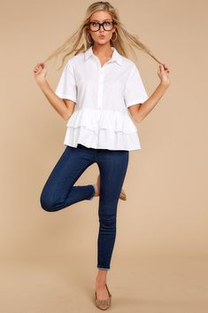 610893a3c Darling White Button Up Top - Trendy Peplum Button Up - Shirt - $30 – Red