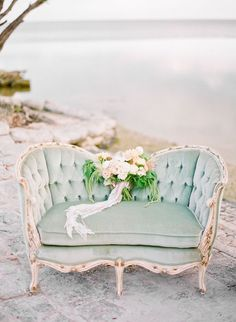 Love the loveseat idea for bride and groom table! Thrift shoppe an old couch and…