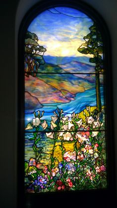 Tiffany stained glass windows in the Church of Christ Congregation's Battell Chapel