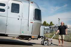 Airstream and TRAX POWER DOLLY SYSTEMS Inc. - A match made in heaven! Safely move your valuable Airstream RV trailer anywhere. Toy Hauler Trailers, Power Trailer, Airstream Rv, Made In Heaven, Recreational Vehicles, Boat, Camping, Campsite, Dinghy