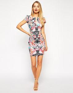 Image 4 ofASOS Mini Sexy Pencil Dress in Mirror Floral Print