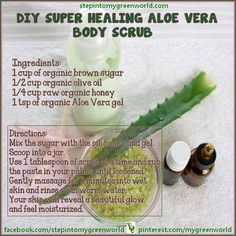 Body Scrub Recipe, Diy Body Scrub, Diy Scrub, Face Scrub Homemade, Homemade Facials, Diy Skin Care, Skin Care Tips, Beauty Hacks For Teens, Organic Aloe Vera