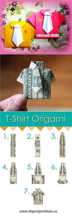 How to Make Cute DIY T-Shirt #origami. This would be a cute Father's Day gift!