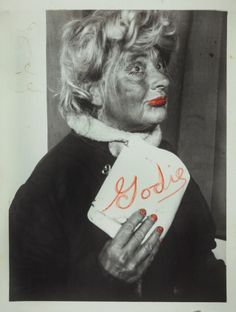 Lee Godie was an American self-taught artist who was active in Chicago during the late 1960s until around the early 1990s. Using props and an eclectic mix of costumes, Godie struck poses and later manipulated the images with paint and ink. Her life, and her art, serve as a testament to the struggles she faced, her fierce commitment to her art, and her ability to leave an impression on everyone she interacted with, even briefly. This is titled Self-portraits