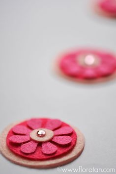 Make Something Everyday : Flower Embellishments for Cards These are made of various shades of pink felt cut with QuicKutz dies and topped with a Hero Arts Bling sparkling pink gemstone.