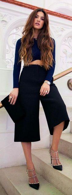 Women's fashion   Navy crop top, stylish black capri, heels, clutch