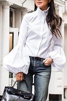 Blouse Elegant Women Fashion Spring Casual White Black Lantern Long Sleeve Office Button Fashion Tops Shirt 2020 Plus Size Spring Fashion Casual, Look Fashion, Womens Fashion, Autumn Fashion, Shirt Sleeves, Bell Sleeves, High Collar, White Women, Long Blouse