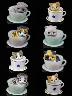 The Japanese do cute perhaps better than anybody else. This series of eight Gashapon or vending machine Tea Cup Kitten Toys is just part of the Hello Kitty world that we live in. The figures are about one inch tall and across.