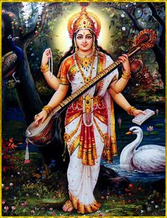 "☀ SARASWATI DEVI ॐ ☀ Shri Krishna said: ""Those who see with eyes of knowledge the difference between the body and the knower of the body, and can also understand the process of liberation from bondage in material nature, attain to the supreme. Saraswati Goddess, Goddess Art, Saraswati Mata, Lord Krishna Images, Radha Krishna Pictures, Shiva Art, Ganesha Art, Saraswati Picture, Lord Vishnu Wallpapers"