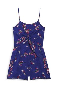 Navy Bow Front Playsuit