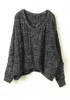 Black Round Neck Bat Sleeve Wool Blend Sweater