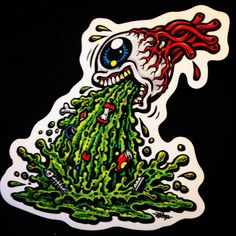 Jimbo phillips barfing eye full color silkscreened shaped sticker on clear vinyl Cartoon Rat, Skateboard Deck Art, Eye Stickers, Creepy Pictures, Lion Art, Pinstriping, Graffiti Art, Cool Eyes, Custom Paint
