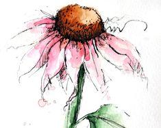 Cone Flower Original Watercolor Art Painting Pen and Ink Watercolor Hand Painted Flower