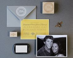 Zachary + Alexandra's Engagement Dinner Party Invitations   Design and Photo Credits: Lush Prints