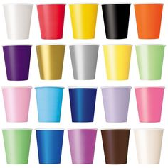 14 Paper CUPS (9oz) - Plain Solid Colours Birthday Party Tableware Catering  | eBay
