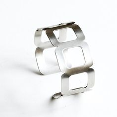 """Modern silver bracelet cuff, handmade sterling silver cuff of 7 cushion shapes, a striking and edgy design - """"Seven Stars Cuff"""""""