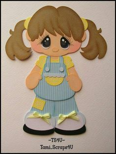 Girl dressed in Blue & Yellow Foam Crafts, Diy And Crafts, Crafts For Kids, Paper Crafts, Stencil Art, Stencils, Scrapbook Embellishments, Tole Painting, Punch Art