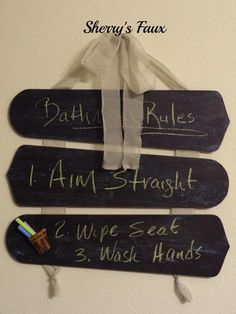 Decorating with CENTS: Bathroom Chalk Board (from ceiling fan blades)