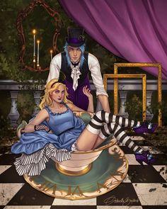Morpheus and Alyssa by Sci Fi Books, Ya Books, Lewis Carroll, Adventures In Wonderland, Alice In Wonderland, Fanart, Book Subscription Box, Gothic Fantasy Art, Anime Fantasy