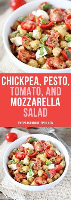 Chickpea, Pesto, Tomato, and Mozzarella Salad with fresh basil is a summer favorite. This easy salad goes great with any meal and only takes minutes to make.