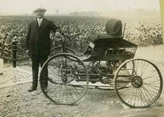 Elwood Haynes and his first Pioneer automobile, 1893 Source: New York City Public Library