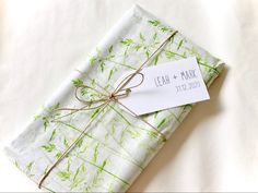 Handmade minimalistic botanical tissue paper - hand-stamped grass tissue paper and wedding tags