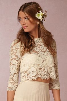 Serenity Lace Top and Maxi Skirt in Swept Away at BHLDN