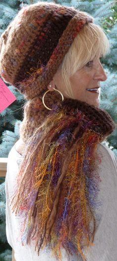 Brown Crochet Hat Scarf Winter Woman Original by hatsbyanne1942, $78.00