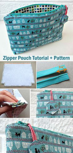 Tutorial + Pattern - - Zipper Pouch Tutorial and Pattern: Flat bottom straight(ish) sides zippy pouch (with a little zipper trick).