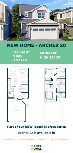 New to the Excel Express series of efficient and effective home design, the Archer combines luxury and affordability in three different sizes that you and your family will love. 1200 Sq. Ft. | 3 Bedroom, 2.5 Bathroom | Starting from the HIGH $300s #NewHome #CalgaryHomeBuilder #AlbertaHome #HomeBuilder #CalgaryRealEstate 3 Bedroom Home Floor Plans, House Floor Plans, Modern Exterior, Archer, Kitchen And Bath, Home Builders, Second Floor, Building A House, New Homes