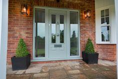 Light grey composite door with glass side panels