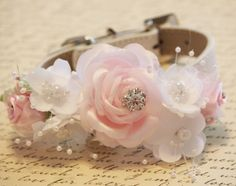 Pink White Floral Dog Collar, High Quality Collar with Pink and White flowers- Pearl and Rhinestone, Pink White Wedding dog accessory