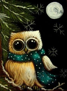 """""""Winter Holiday Owl with Scarf & Snowflakes"""" by Cyra R. Painting & Drawing, Whimsical Owl, Owl Pictures, Beautiful Owl, Winter Painting, Owl Patterns, Owl Art, Cute Owl, Art Portfolio"""