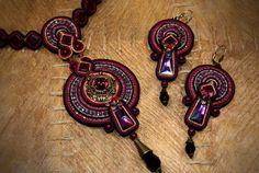 Soutache Earrings / dark purple bordeaux black / от BeadsRainbow, €75.00