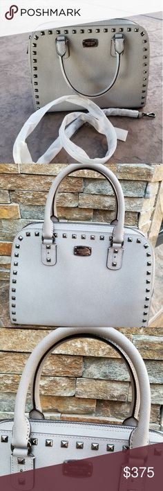 f80343bbe Michael Kors Saffiano Grey Studded Large Purse Michael Kors large saffiano  gunmetal studded purse Color is
