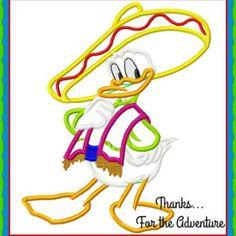 Mexican Fiesta Donald Duck in a Sombrero Applique Digital Embroidery Machine Design File 5x7 6x10