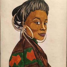 Don't know original colors but this woman made me speechless @ettarayfrank  #art #artwork #arts_help #nawden #drawing #markers #original #portrait #talnts #ink #africa #african #naturalhair #hairstyle #braids #twists #melanin #badassgenius #badass_genius #blackandwhite #blackisbeautiful by badass_genius