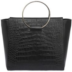 Little Liffner Women Embossed Leather Tote Bag W/ Ring ($790) ❤ liked on Polyvore featuring bags, handbags, tote bags, black, leather tote handbags, leather handbags, genuine leather tote bags, leather handbag tote and real leather tote