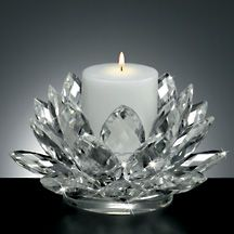 Lotus Crystal Pillar Candle Holder by Godinger