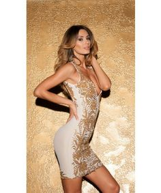 BRIE DRESS IN WHITE WITH GOLD