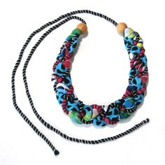 Tribal Chic Bib Statement Necklace, Nautical Necklace, Big Bold Chunky, Tropical Colors, Beach Fun Jewelry, Upcycled Fashion, Rope Jewelry by FabricTwist on Etsy
