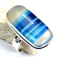Stunning Sterling Silver Blue Lace Agate Ring, Size 8.75