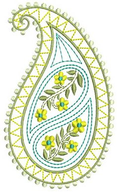 Embroidery Design Patterns : Mango,Peacocks & Butterflies - Page 3 . Peacock Embroidery Designs, Paisley Embroidery, Border Embroidery Designs, Basic Embroidery Stitches, Hand Embroidery Videos, Hand Work Embroidery, Embroidery Flowers Pattern, Creative Embroidery, Hand Embroidery Stitches