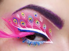 """""""Pink Peacock"""" Fantasy Makeup! LOVE THIS! Would be fun for Art After Dark"""