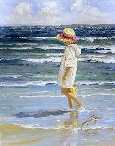 hoge kwaliteit met de hand- gemaakt kunst olieverfschilderij art deco kinderen op het strand @12( het vrije verschepen)