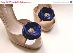 SPRING SALE Blue Flower Shoe Clips  Bridal by BelleBlooms on Etsy, $26.35